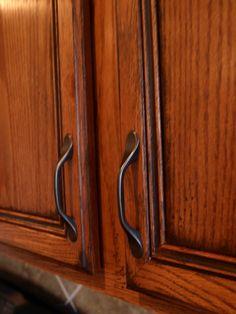 antiqued oak cabinets