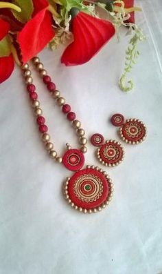 Terracotta Jewellery Making, Terracotta Jewellery Designs, Teracotta Jewellery, Diy Air Dry Clay, Feather Necklaces, Polymer Clay Jewelry, Clay Crafts, Indian Jewelry, Handcrafted Jewelry