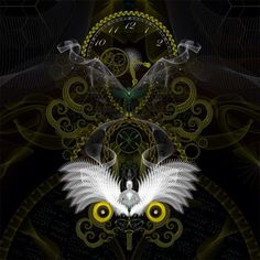 Tiima Olwu (complet) • 2012 #steampunk touche # #owl #TIME #dmt #psychedelic #digital #illustration #dream #samuelfarrand
