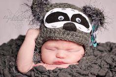 Little Raccoon Crochet Hat Baby through by dkcuddlemecrochet