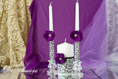 Plum BLACK Wedding Unity candles from the collection DAMASK\ black and white wedding\ personalization unity candle set\ Set of Unity Candle Holder, Candle Set, Bottle Decorations, Wedding Decorations, Wedding Ideas, Wedding Unity Candles, Damask Wedding, Wedding Glasses, Traditional Wedding