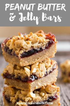 Peanut Butter and Jelly Bars are a fun spin on the classic PB&J sandwich. You will be amazed at how easy these bars are to make. #peanutbutter #jelly #bakedbyanintrovertrecipes via @introvertbaker