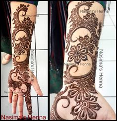 Today's featured artist is Nasima from Nasima's Henna. Her creative arabic mehndi designs makes her a unique henna artist. Bridal Henna Designs, Arabic Mehndi Designs, Mehndi Patterns, Latest Mehndi Designs, Mehndi Designs For Hands, Henna Tattoo Designs, Bridal Mehndi, Mehndi Desing, Pakistani Bridal