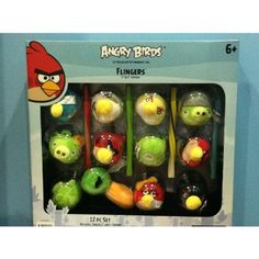 "Angry Birds 12-piece 2-inch Plush Toppers Set w/ Four Flinger Sticks to Make Them Fly!! by Rovio. $25.00. 4 FLINGER STICKS. 12 PCS 2"" SOFT TOPPERS. Trade them, collect them, or give them to your friends, as a gift!  Your set includes 4 character dedicated flinger sticks that, can double as erasers.  Angry Bird flingers are the tops! Angry Birds, Game Art, Sticks, Plush, Arts And Crafts, Games, Toys, Friends, Drawings"
