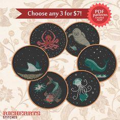 Choose any 3 underwater life (whale, jellyfish, manatee, stingray, octopus, koi) PDF cross stitch patterns