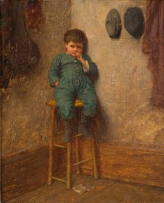 Eastman Johnson, American, Little Boy on a Stool, c. 1861, oil on canvas, 2008.74.  #palmermuseumofart