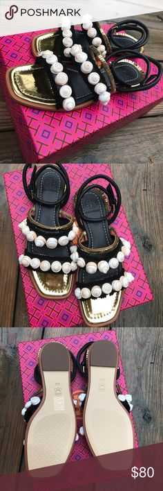 New Tory Burch Sinclair Sandel size 6 NWB size 6 vacation perfect sandal with shells and gold Tory Burch Shoes Sandals