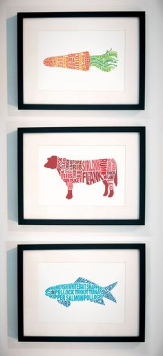 typography + food 24 Tasty Ways To Decorate Your Kitchen Walls via Brit + Co.Lots of great kitchen prints.