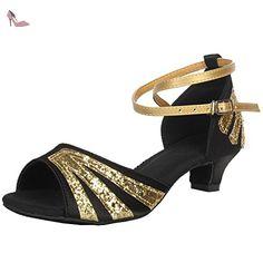 Oasap Women's Open Toe Sequins Cross Strap Latin Dance Shoes, Black EURO38/US7/UK5 - Chaussures oasap (*Partner-Link)