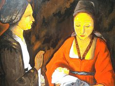 La Nativité - G. de la Tour - 1640. Reproduction à l'acrylique sur panneau en bois, vernie, vendue sans cadre. Travail artisanal soigné par copiste. Dimensions : 35 x 44,5 cm. Épaisseur : 5 mm. A vendre. Prix : 60 €.