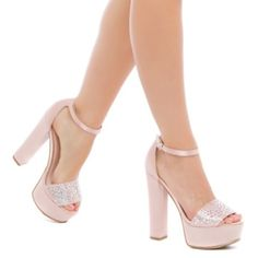 """Platform satin dress sandals - blush color These are gorgeous faux suede and satin dress sandal by Madison with block heel, jewels and adjustable strap in blush color. Size is 7 and they fit true to size. Outside heel height is 5.5"""", inside heel height is 4.75"""", platform height is 2"""" but feels like 3.5"""".  Very comfortable on. See last picture on one way how to wear them but they will match with anything classy and girly and definitely bound to make a statement. Price is firm unless bundled…"""