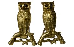 Antique English Brass Owl Andirons, Pair $675.00