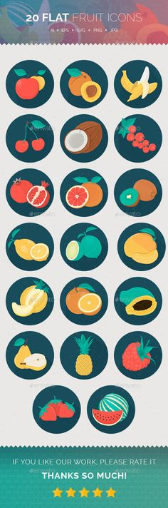 Flat Fruit Icons — Vector EPS #apricot #mango • Available here → https://graphicriver.net/item/flat-fruit-icons-/13538919?ref=pxcr