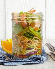 Grab your chopsticks and dig into this Asian-inspired noodle salad. Succulent shrimp provides lean protein, while fresh snow pea pods, green onions, and broccoli slaw get you well on your way to your vegetable quota for the day. #lunchrecipes #lunchideas #easylunchideas #bhg Lunch Recipes, Seafood Recipes, Cooking Recipes, Healthy Recipes, Skinny Recipes, Jar Recipes, Fish Recipes, Yummy Recipes, Mason Jar Meals