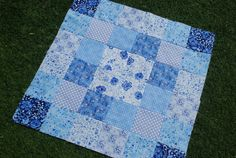 COUTURE Pram/Stroller Quilt Hungarian Blues by Dancingangelsquilts, $34.98