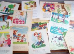 Vintage Childrens Paper 20 Colorful Illustrated by RandomPaperEtc, $3.50