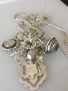 Sterling Fob Cluster on Antique Victorian Watch Chain Necklace @CELESTEANDCOGEMS by CelesteandCoGems on Etsy