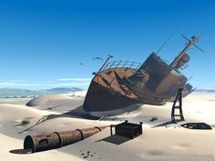 Shipwreck in the Aral Sea.  Ever since the Soviet Union diverted the rivers that flowed into the Aral Sea in the 1960s, its coastline has been receding. Today, the arid desert land only harbours the remnants of dozens of shipwrecks.