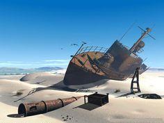 The Aral sea........ Now a desert.