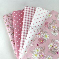 5 PCS Assorted Pre-Cut Plain 100% Cotton Quilt Cloths Fabrics For Sewing Pink #UnbrandedGeneric