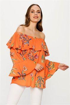dd9e3978f9aac Volan Detaylı Turuncu Bluz - Kapıda Ödeme - Ücretsiz Kargo #bluz  #bluzmodelleri #fashion