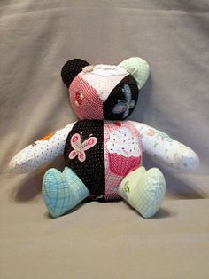 Memory Teddy Bear Custom Handmade from Your or Your Baby's Clothes This One Is An Example Only NOT For Sale