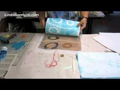 """Martha Marshall. """"I use a gelli plate rather than the traditional gelatin plate.""""  -- And finally, I love the following video by Linda Germain, which shows just how simple and Zen-like the gelatin print process can be. Notice that she uses the exact same collection of homemade materials over and over, with a different result every time."""