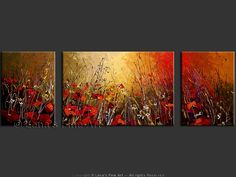 """Scarlet Poppy Field"" - Original Flower Paintings by Lena Karpinsky, http://www.artbylena.com/original-painting/20336/scarlet-poppy-field.html"