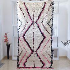 Boucherouite Moroccan Vintage Rag Rug All Wool Handmade Genuine Beauty 5'10x2'7