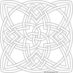 4 stranded, 4 cornered knot to color- available in transparent png and jpg format Celtic Mandala, Celtic Quilt, Celtic Art, Mandala Coloring Pages, Coloring Book Pages, Zentangle Patterns, Quilt Patterns, Celtic Symbols, Celtic Knots