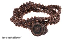 How to Make a Knotted Waxed Linen Wrap Bracelet (Beads on the Outside)