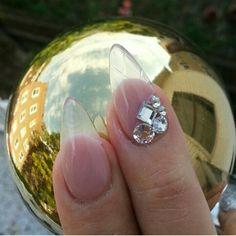 Clear, diamond, bling, acrylic, almond, stiletto nails