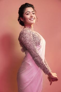 Rashmika Mandanna in Ashwini Reddy's latest collection. Ensemble of powder pink cutwork saree and intricate zardozi embroidered blouse. Indian Fashion Dresses, Dress Indian Style, Indian Outfits, Beautiful Girl Photo, Beautiful Girl Indian, Beautiful Girl Drawing, Beautiful Women, Animals Beautiful, Pop Design
