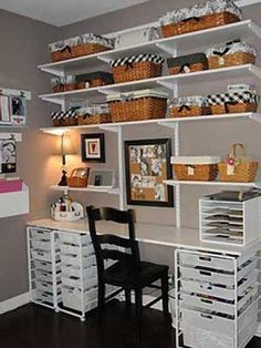 Craft Room inspiration. I'd love to work on my blog www.sewinlove.com.au in an office like this.