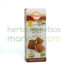 Bio-Darma, Delizias Avena con Canela, son ligeras y crujientes con un punto de canela que las hace apetecibles en cualquier momento, especialmente para acompañar el café o té.