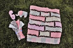 Pink and Brown Animal Print Baby Gift Set - Quilt, Burp Rags and Rattles!! by BabyBazerk on Etsy