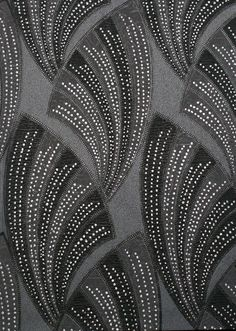 Black Novella Wallpaper ~ Art Decor Collection by Graham & Brown. This washable vinyl wallpaper is embellished with silver glitter which accentuates the bold fan pattern & is fitting to the Art Deco style.