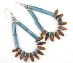 Robles Blues Bulahan Wood & Tagua Earrings  - to see all project components please go to AntelopeBeads.com