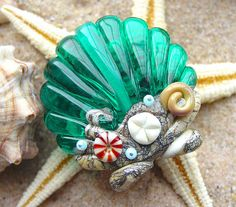 Teal Ocean Scallop Shell Focal Bead  SRA Glass by artwithheart, $25.00