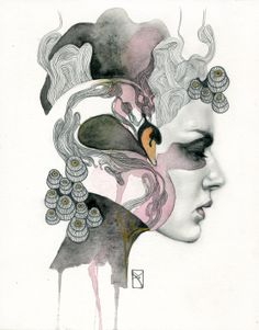 """Animal Spirits: Swan"" Media: Pencil and watercolor on illustration inches Year: 2013 Love . This original illustration by artist Patricia Ariel is part of the series of small artworks nam. Art And Illustration, Illustrations, A Level Art, Ap Art, Portrait Art, Portraits, Art Images, Art Inspo, Fantasy Art"
