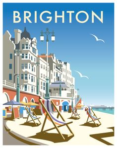 "my-world-of-colour: "" England - Brighton Vintage travel poster Saved from davethompsonillus. "" - my-world-of-colour: "" England – Brighton Vintage travel poster Saved from davethompsonillus… "" - Old Poster, Poster Retro, Vintage Travel Posters, Poster Poster, Posters Decor, Art Deco Posters, Retro Advertising, Vintage Advertisements, Harry Potter Poster"