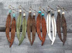 Long Feather Earrings Bohemian Earrings Gemstone Leather