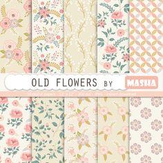 Floral digital paper: OLD FLOWERS vintage digital by MashaStudio
