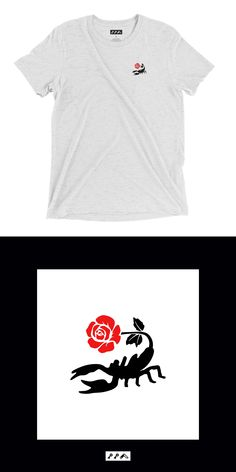 the SCORPION ROSE suuuuuper soft shirt comes in a white fleck tri-blend. all of KIKICUTT.com shirts are unisexy. duh! Rose Design, Scorpion, Short Sleeve Tee, Unisex, Tees, T Shirt, How To Wear, Stuff To Buy, Women