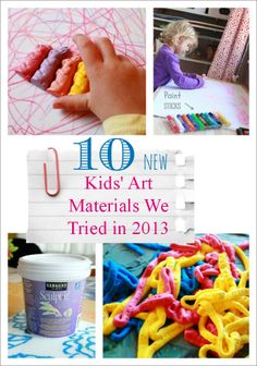 10 New Kids' Art Materials Tried in 2013 (at The Artful Parent) -- including foam paint, tempera paint sticks, Sculpt-It air dry clay, and shaped crayons