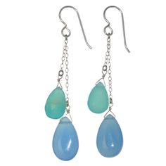 Ashanti Sterling Silver Blue Chalcedony Briolette Gemstone Dangle Handmade Earrings (Sri Lanka)