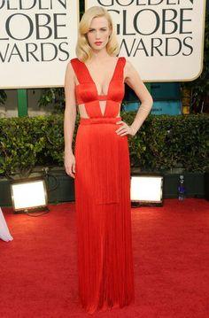 January Jones in Versace, Golden Globes 2011