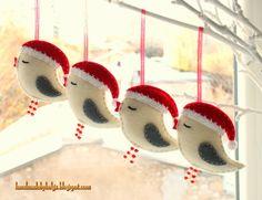 Handmade by Helga: Felt Birds with Santa Hats