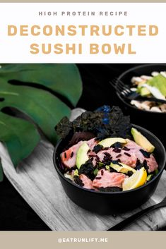 A healthy dinner recipe you can make tonight. Rather than go through the process of wrapping sushi, make this easy bowl with salmon, black rice, nori, avocado and greens of your choice. Healthy Gluten Free Recipes, High Protein Recipes, Easy Recipes, Deer Recipes, Eat And Run, Sushi Bowl, Black Rice, Delicious Dinner Recipes, Tasty Dishes