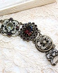 Victorian Opulence Wine and Crystal Bracelet